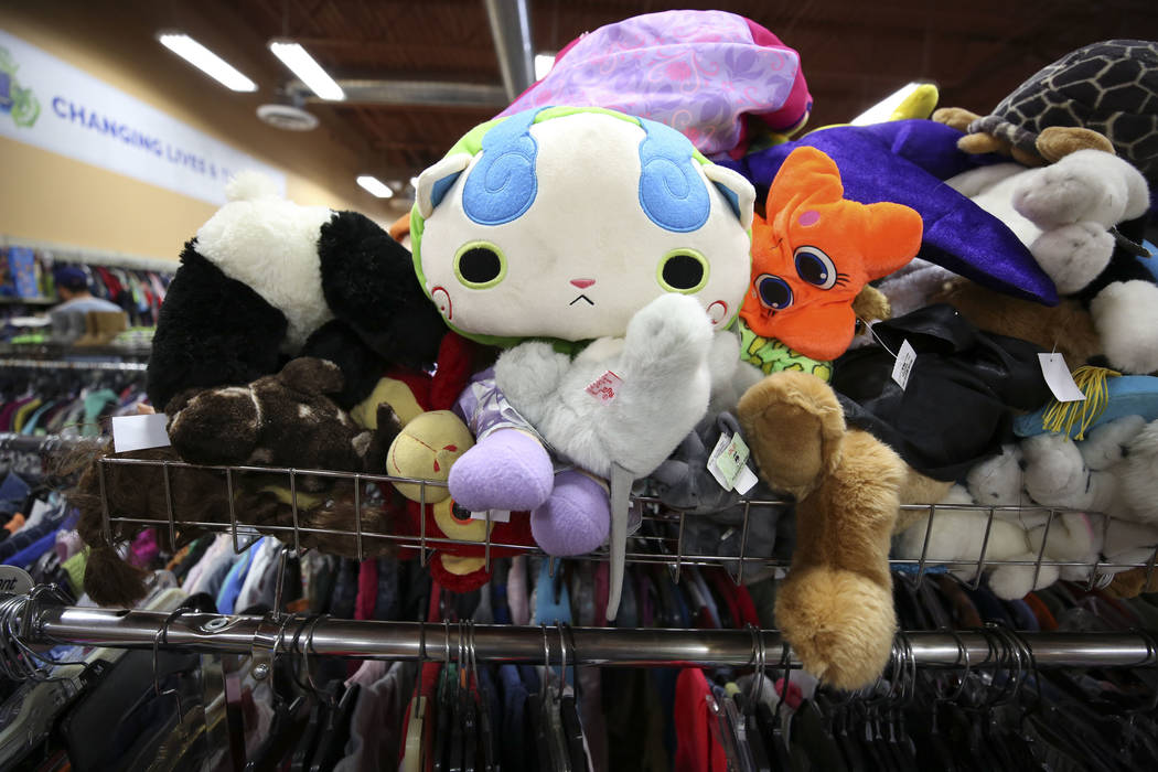 Stuffed children's toys wait for their new owners at the Goodwill store located at 1390 American Pacific Drive in Henderson on Thursday, Dec. 28, 2017. Richard Brian Las Vegas Review-Journal @vega ...