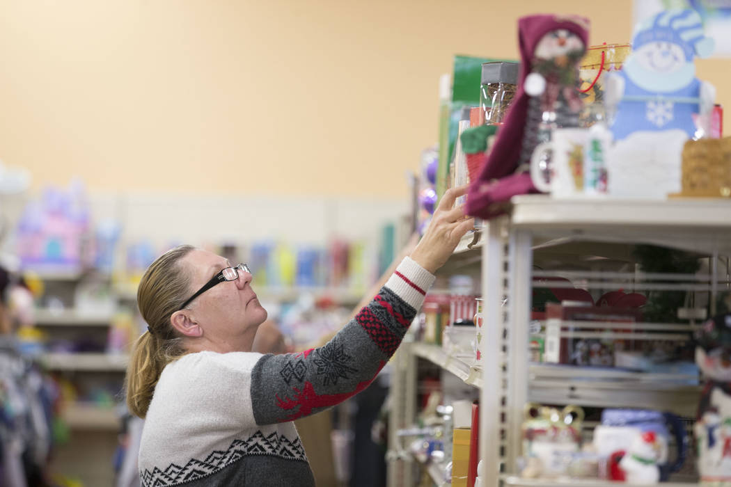 Canduce Culbertson shops the Christmas sales at the Goodwill store located at 1390 American Pacific Drive in Henderson on Thursday, Dec. 28, 2017. Richard Brian Las Vegas Review-Journal @vegasphot ...