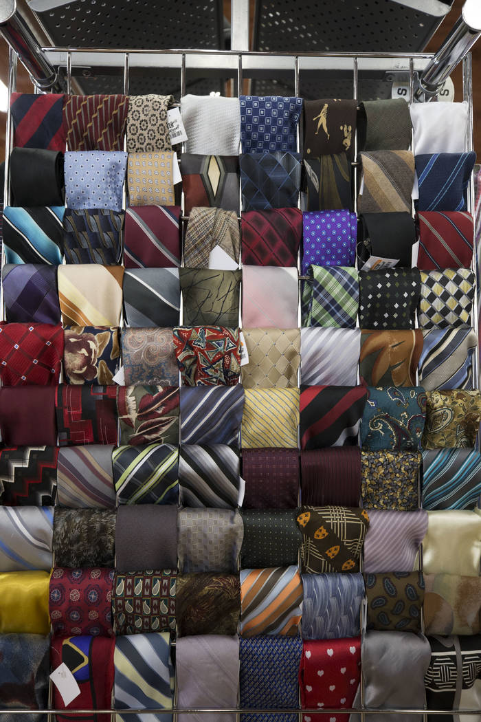 An assortment of ties for sale on display at the Goodwill store located at 1390 American Pacific Drive in Henderson on Thursday, Dec. 28, 2017. Richard Brian Las Vegas Review-Journal @vegasphotograph