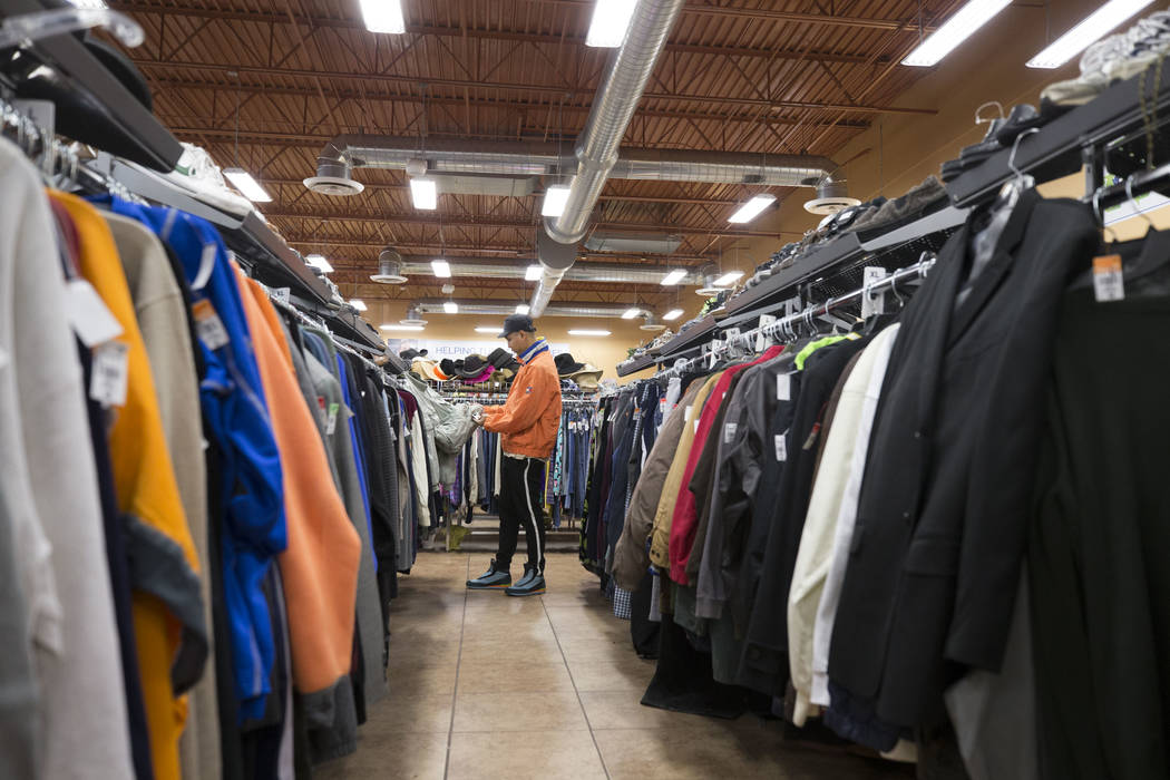 John Carr looks at the men's jackets while shopping at the Goodwill store located at 1390 American Pacific Drive in Henderson on Thursday, Dec. 28, 2017. Richard Brian Las Vegas Review-Journal @ve ...