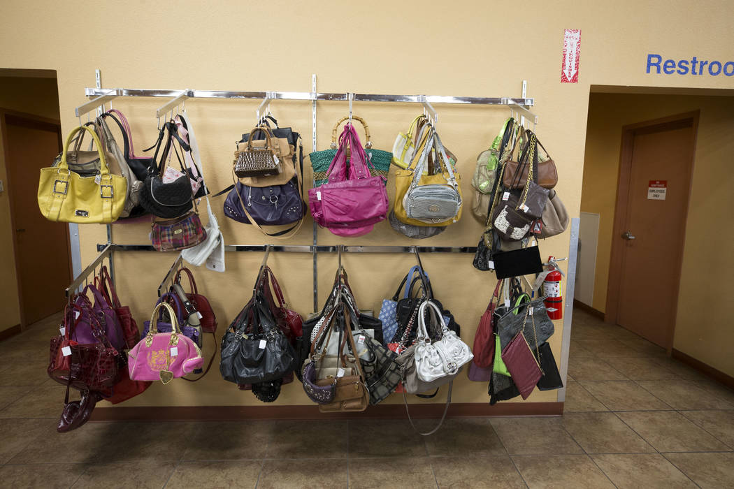Purses for sale at the Goodwill store located at 1390 American Pacific Drive in Henderson on Thursday, Dec. 28, 2017. Richard Brian Las Vegas Review-Journal @vegasphotograph