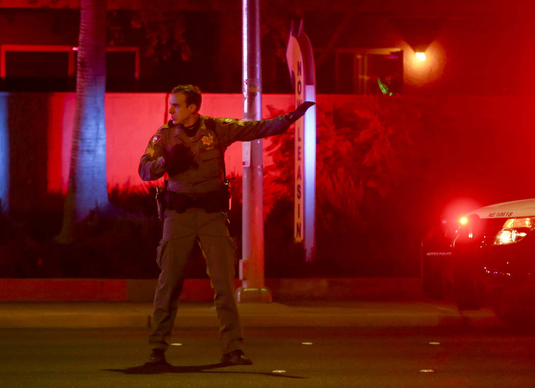 Las Vegas police respond to a scene where multiple people were shot at 3750 E. Bonanza Road in Las Vegas on Wednesday, Dec. 27, 2017. Chase Stevens Las Vegas Review-Journal @csstevensphoto