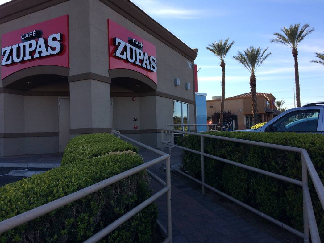 Exterior of Cafe Zupas is seen Dec. 28, 2017. There are only three in Las Vegas and the Summerlin area has one.