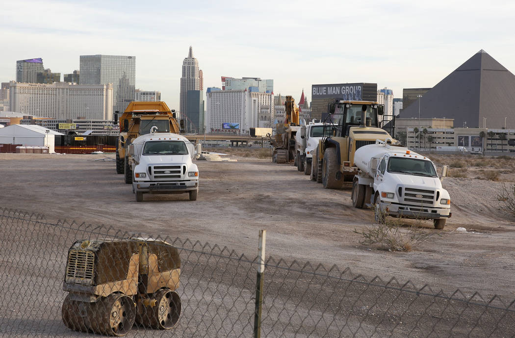 Heavy construction equipments and trucks inside the Raiders stadium site, near Hacienda Avenue and Dean Martin Drive on Tuesday, Nov. 13, 2017, in Las Vegas. Bizuayehu Tesfaye/Las Vegas Review-Jou ...
