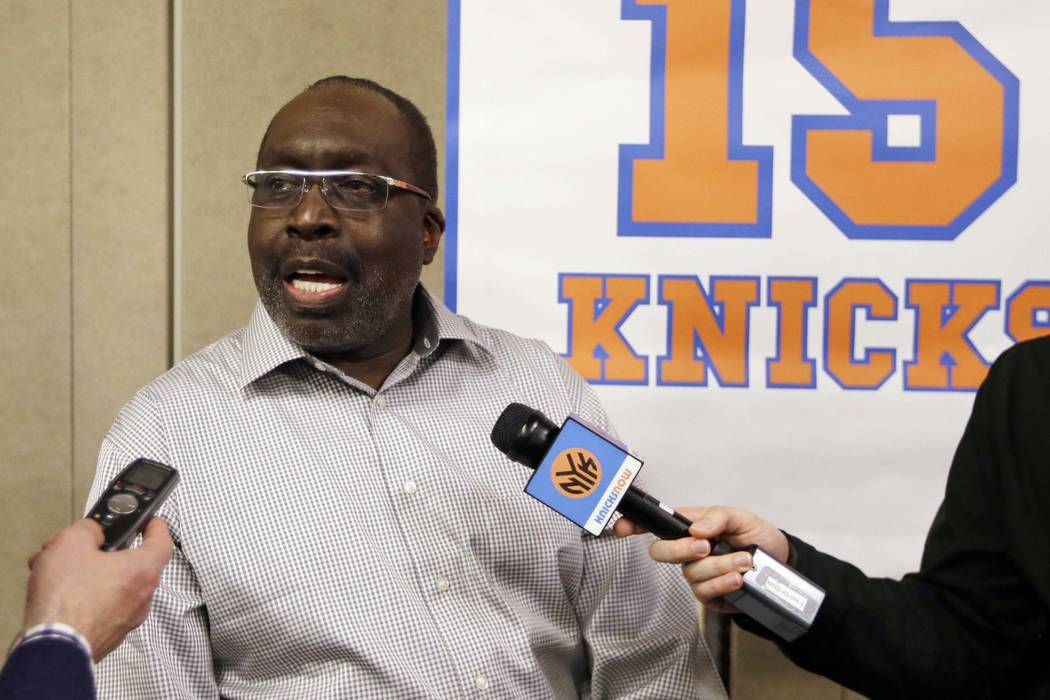 New York Knicks Hall-of-Famer Earl Monroe responds to questions during an interview before an NBA basketball game between the Knicks and the Milwaukee Bucks, Friday, April 5, 2013, in New York. (A ...