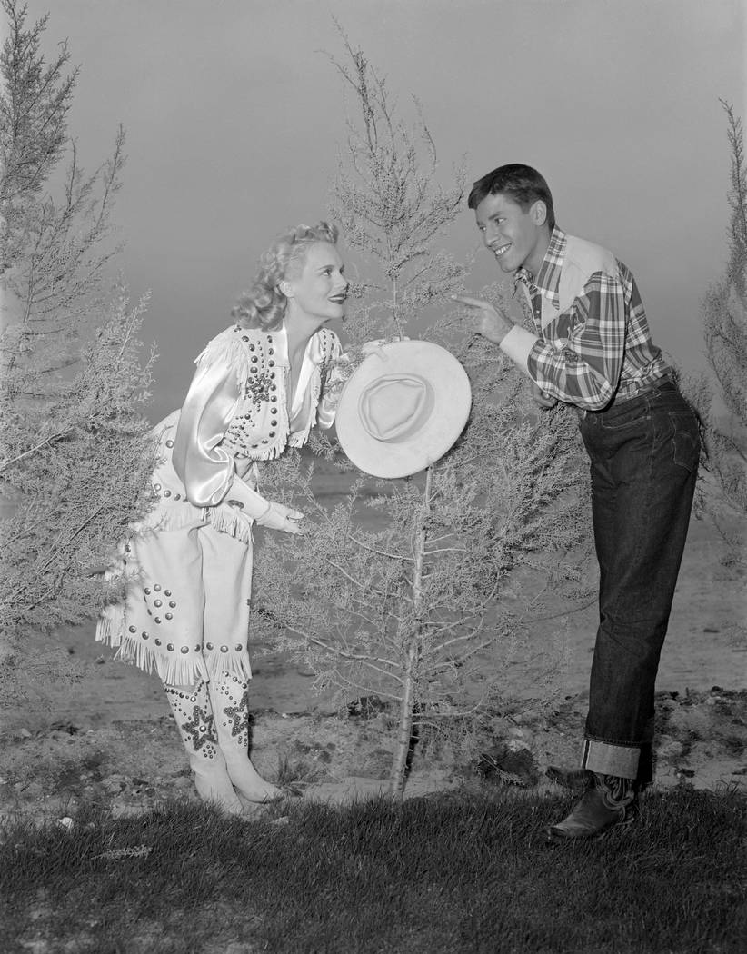 """Jerry Lewis and Marie Wilson pose for a photo during filming of """"My Friend Irma Goes West"""" at the Flamingo in Las Vegas circa early 1950. The film marked the second on screen pai ..."""