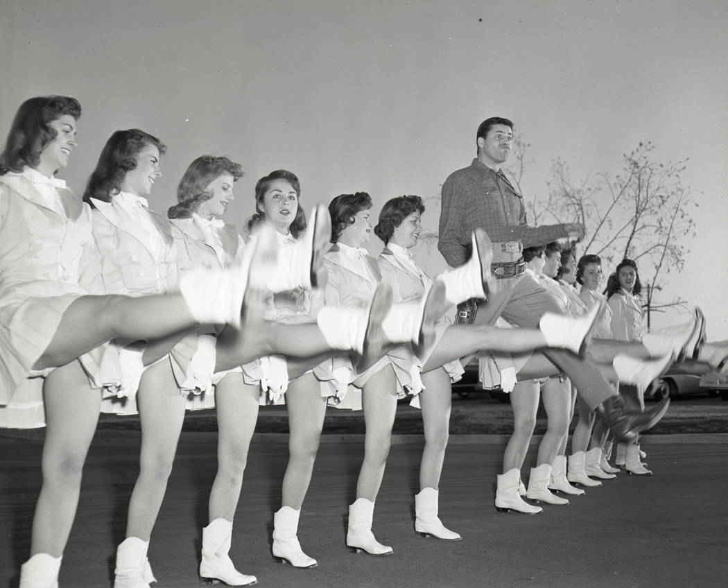 Las Vegas Rhythmettes with Jerry Lewis in Las Vegas, Nevada circa 1955-1960. Las Vegas News Bureau
