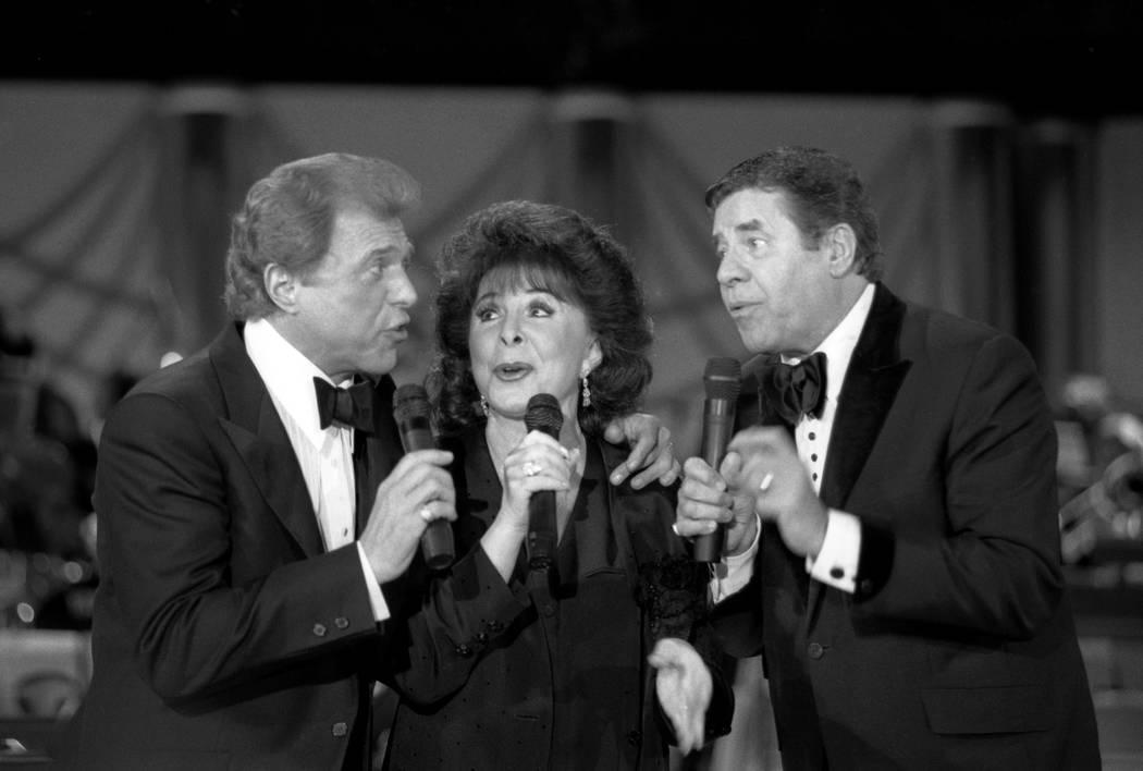 Steve Lawrence, Eydie Gorme & Jerry Lewis at the MDA Telethon @ the Sahara hotel. 9-6-93. Darrin Bush/Las Vegas News Bureau