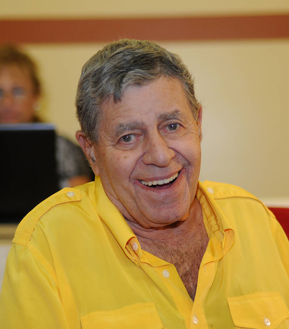 In this photo provided by the Las Vegas News Bureau, legendary entertainer and Muscular Dystrophy Association National Chairman Jerry Lewis is interviewed at the South Point Hotel and Casino in La ...