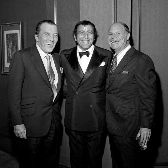 Ed Sullivan, left, Tony Bennett, middle and Don Rickles, right, at Tony Bennett's opening night party at the Riviera Hotel and Casino in Las Vegas on Oct. 26, 1971. CREDIT: Las Vegas News Bureau.