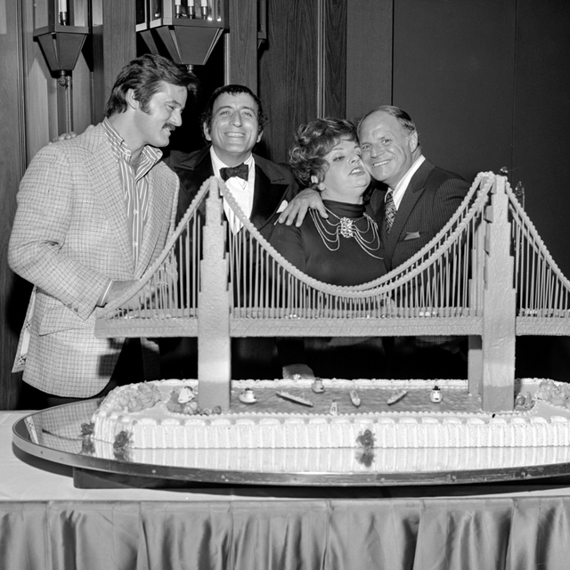 Robert Goulet, from left, Tony Bennett, Totie Fields and Don Rickles, right, at Tony Bennett's opening night party at the Riviera Hotel and Casino in Las Vegas on Oct. 26, 1971. CREDIT: Las Vegas  ...