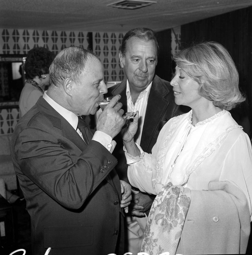 Don Rickles, Tennessee Ernest Ford and Dinah Shore socialize at The Sahara on March 22, 1978, in Las Vegas. (Las Vegas News Bureau)