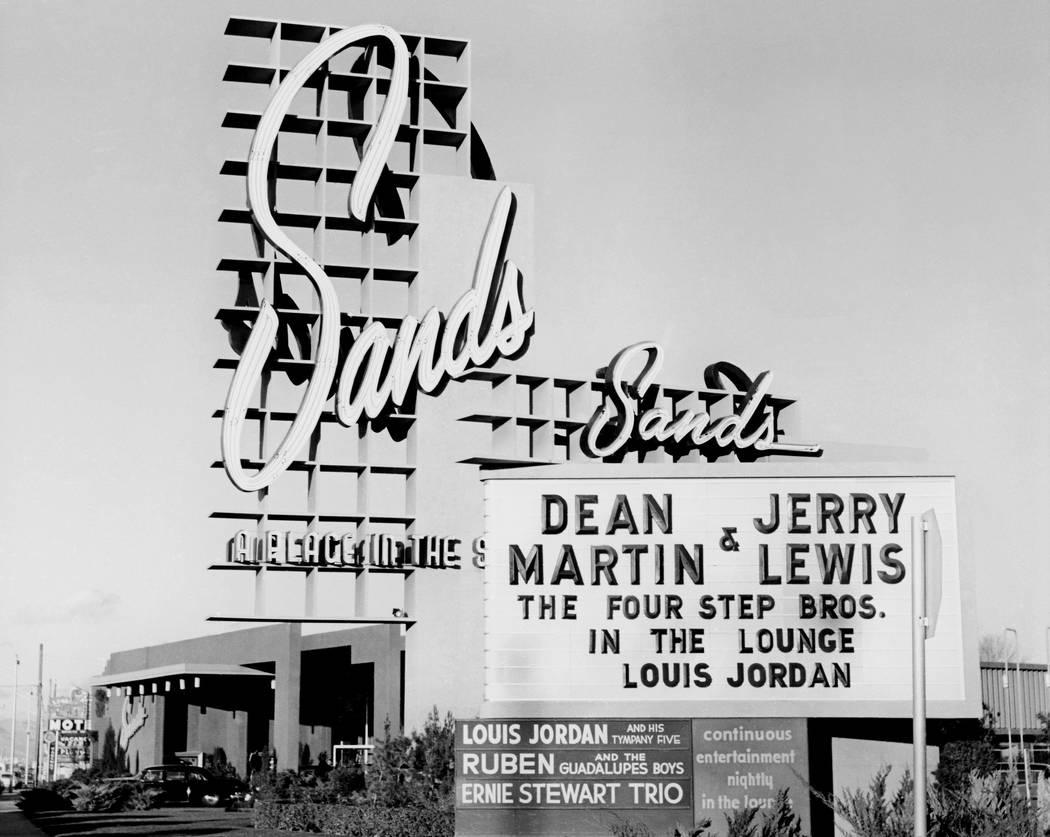Sands marquee - 01/19/55, Dean Martin, Jerry Lewis Sands 1/19/1955. Las Vegas News Bureau