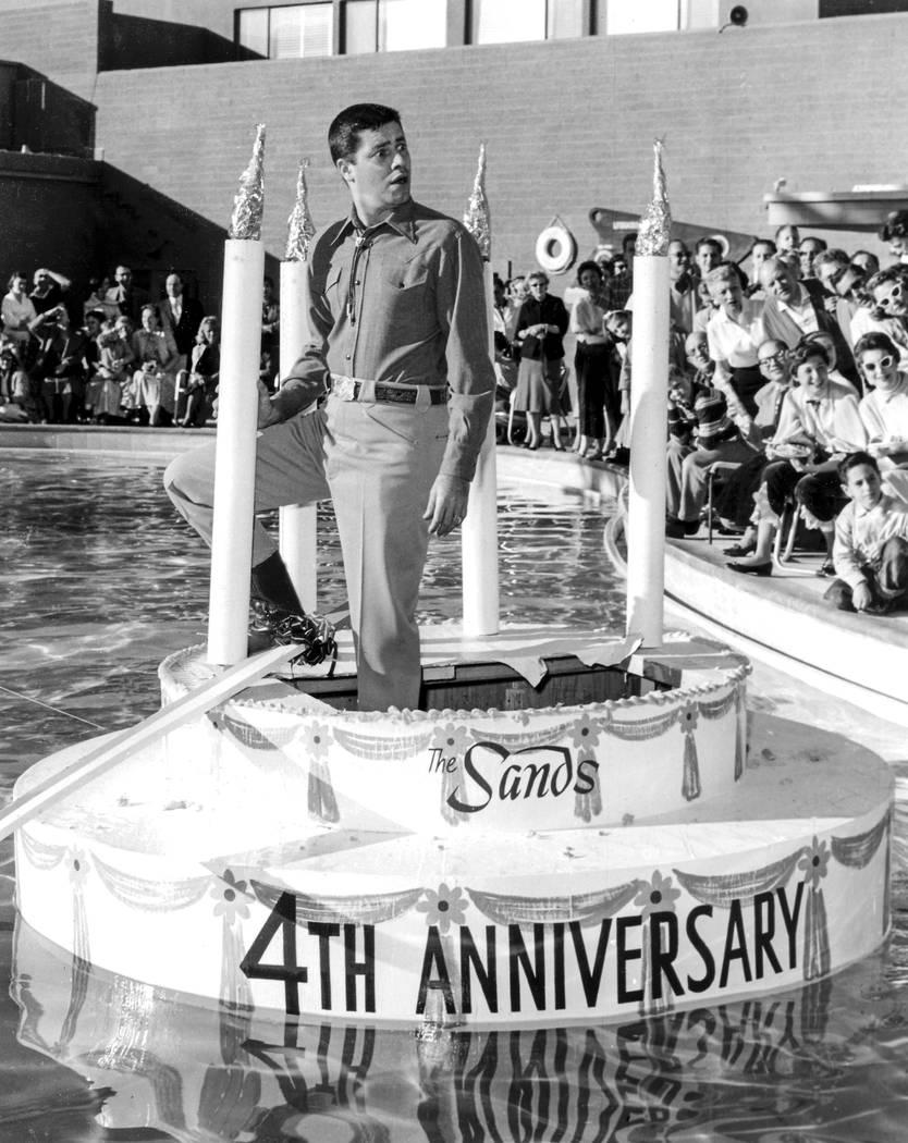 Jerry Lewis at the Sands 4th birthday party  12/15/56 Sands Jerry Lewis 12/15/1956. Las Vegas News Bureau