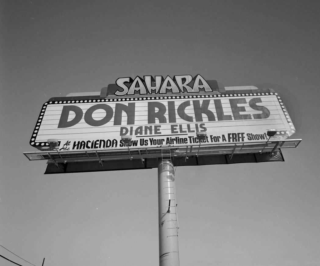 Don Rickles on the Sahara marquee on January 16, 1987. (Las Vegas News Bureau)