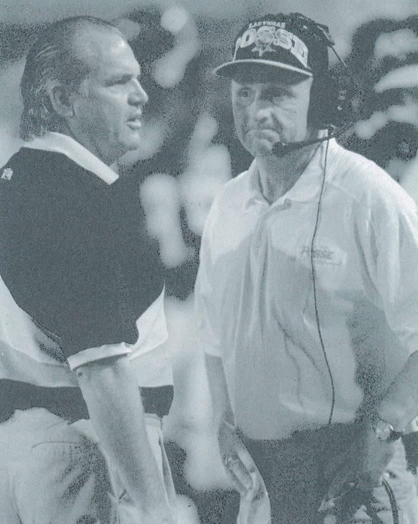 Las Vegas Posse head coach Ron Meyer, left, and coach Ron Smeltzer at a Posse home game Sept. 8, 1994. Las Vegas Review-Journal