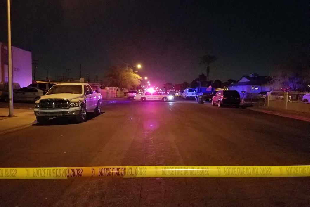 North Las Vegas police investigate a homicide at a residence on the 2200 block of Carroll Street on Thursday, Dec. 28, 2017. (Mike Shoro/Las Vegas Review-Journal)