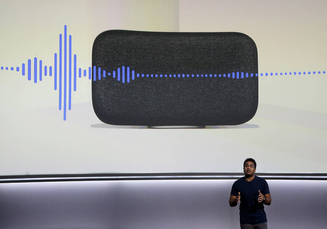 FILE - In this  Wednesday, Oct. 4, 2017, file photo, Google's Rishi Chandra speaks about the Google Home Max speaker at a Google event in San Francisco,. Once people get their first smart product, ...