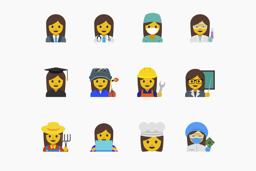 FILE - This undated file image provided by Google shows the emojis the company proposed that highlight the diversity of women's careers. Eleven of the proposed emojis were added and recognized by  ...