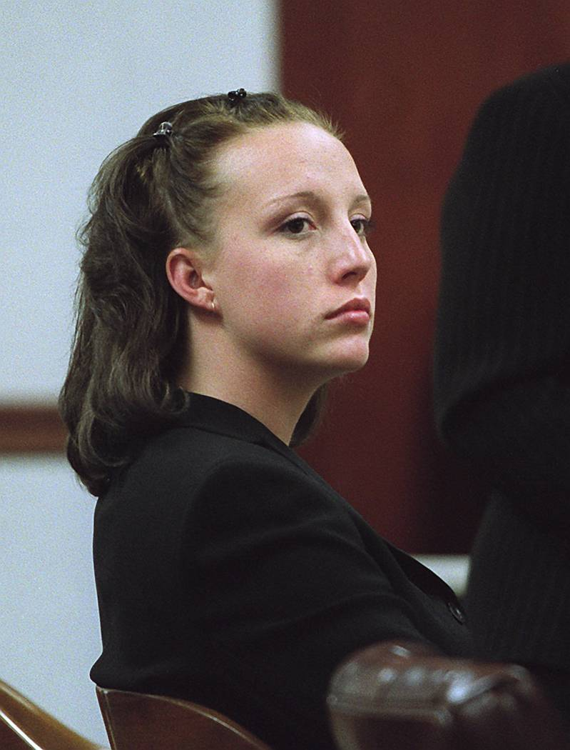 Kirstin Lobato listens to testimony in Clark County District Court in Las Vegas, May 14, 2002, during her hearing in connection with the death and mutilation of a homeless man. Lobato allegedly ki ...