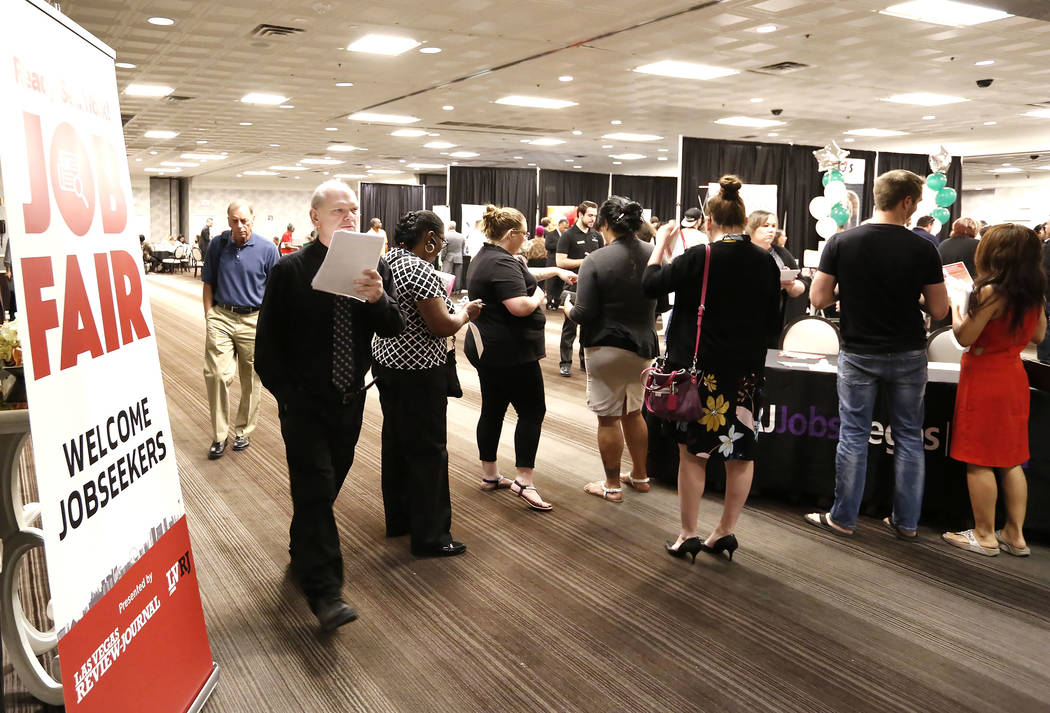 Job seekers arrive at a job fair hosted by the Las Vegas Review-Journal at Palace Station on Thursday, Aug. 17, 2017, in Las Vegas. Bizuayehu Tesfaye Las Vegas Review-Journal @bizutesfaye