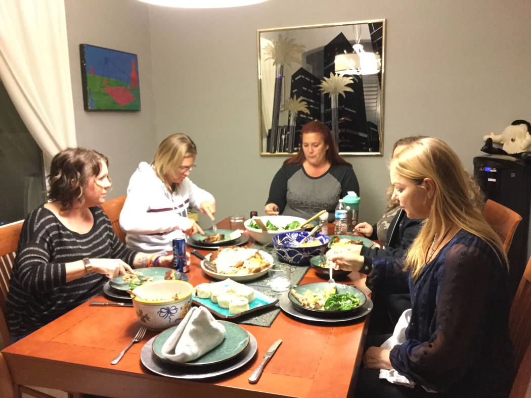 Survivors of the Oct. 1 Las Vegas shooting--Jennifer Holub (left), Shawna Bartlett, Heather Gooze, Stacie Armentrout, and Christine Caria--meet over dinner to discuss ways to deliver immediate fin ...