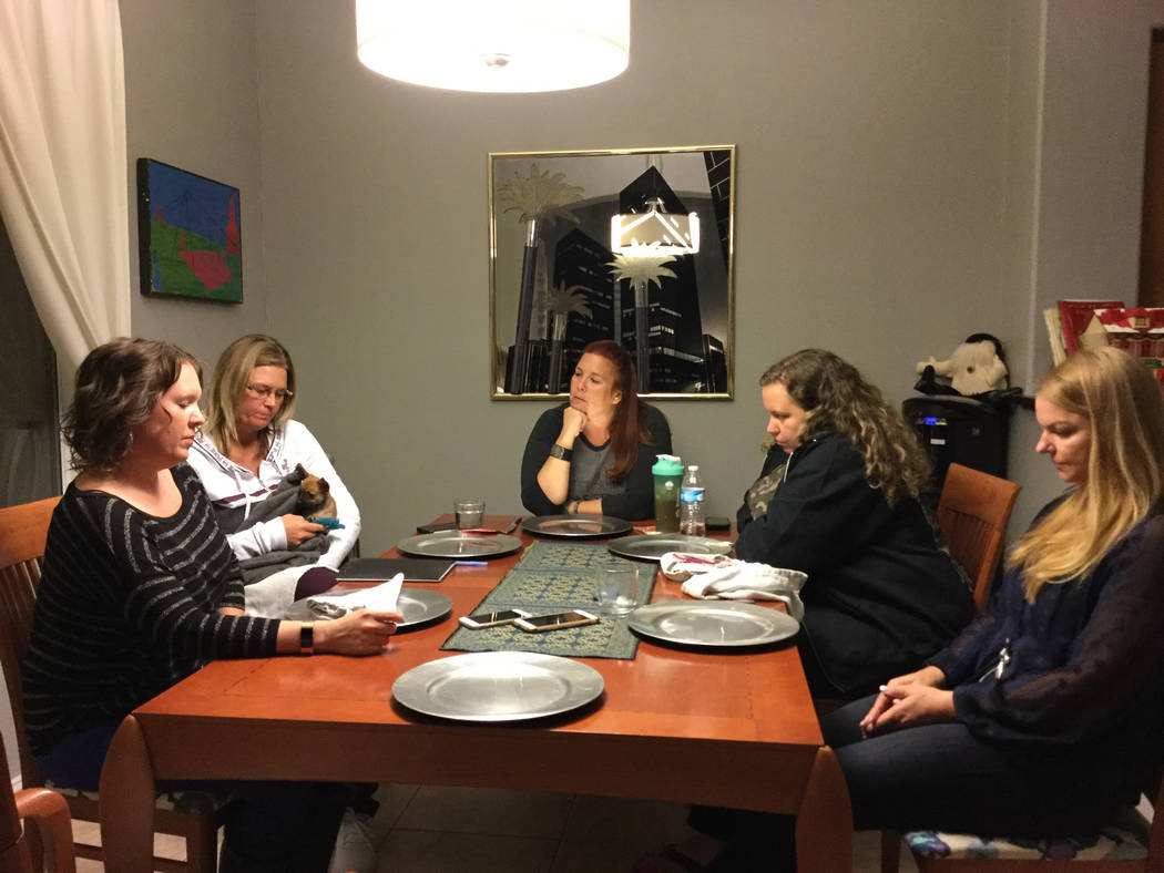 Survivors of the Oct. 1 Las Vegas shooting--Jennifer Holub (left), Heather Gooze and Stacie Armentrout discuss ways to deliver immediate financial assistance to survivors and families of the 58 wh ...