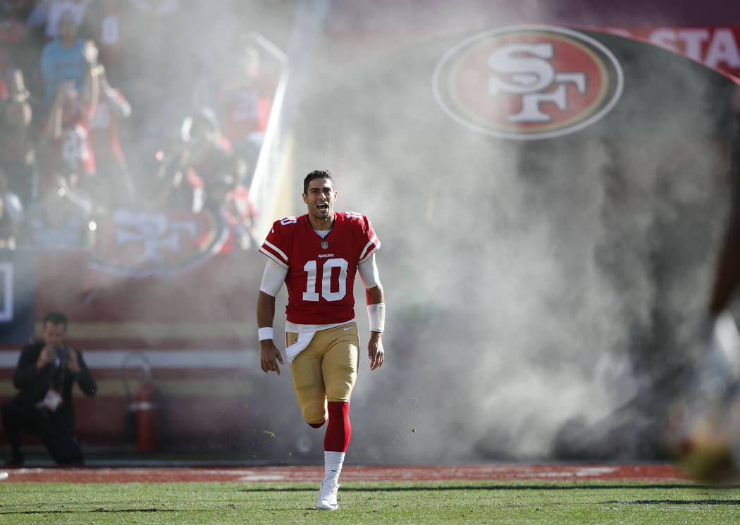 1179155d4 San Francisco 49ers quarterback Jimmy Garoppolo (10) is introduced before  an NFL football game