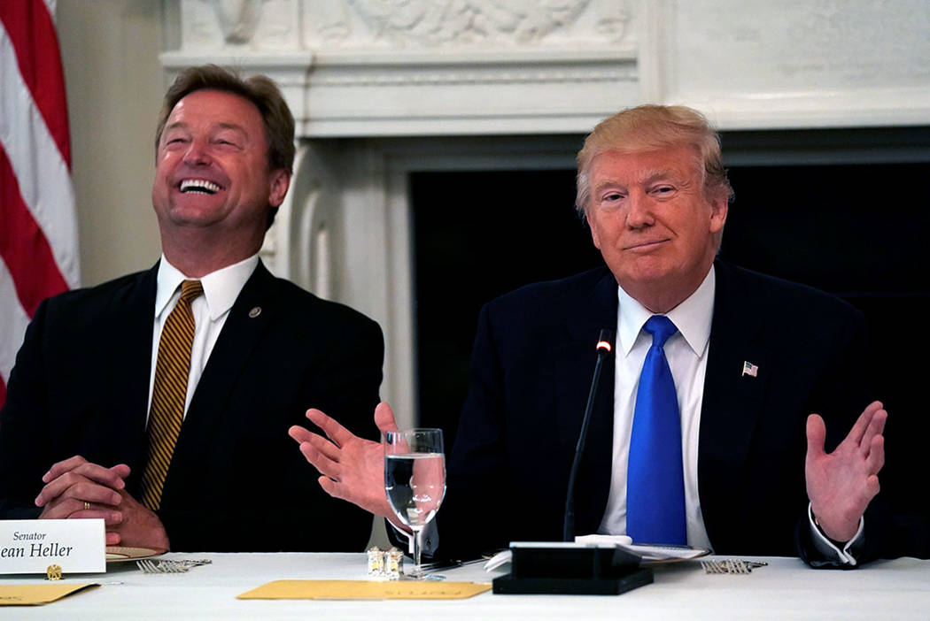 Senator Dean Heller, R-Nev., reacts as President Donald Trump speaks during a lunch meeting with Senate Republicans to discuss healthcare at the White House in Washington in July. (REUTERS/Kevin L ...