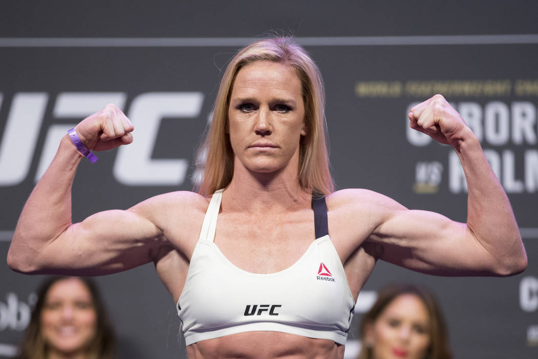 Holly Holm during the UFC 219 ceremonial weigh-in event at T-Mobile Arena in Las Vegas, Friday, Dec. 29, 2017. Erik Verduzco/Las Vegas Review-Journal