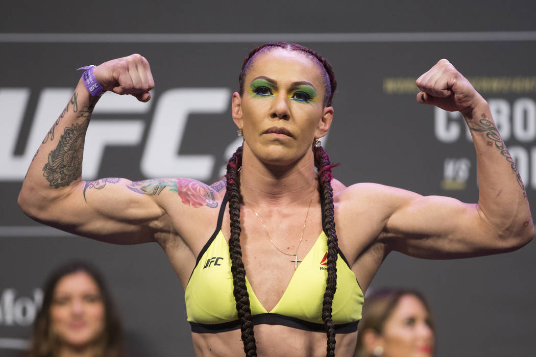 "Cris ""Cyborg"" Justino during the UFC 219 ceremonial weigh-in event at T-Mobile Arena in Las Vegas, Friday, Dec. 29, 2017. Erik Verduzco/Las Vegas Review-Journal"