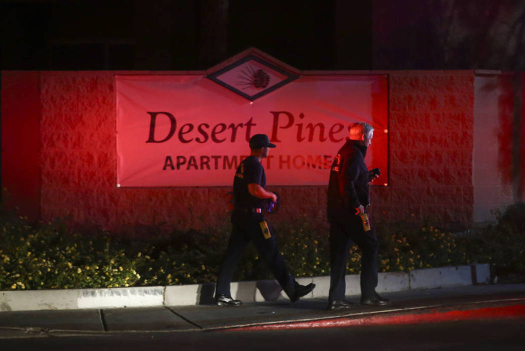 Medical personnel respond to a scene where multiple people were shot at 3750 E. Bonanza Road in Las Vegas on Wednesday, Dec. 27, 2017. Chase Stevens Las Vegas Review-Journal