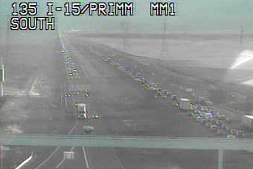 Traffic backs up in the southbound lanes of Interstate 15 at Primm on Friday. (NVFast Traffic Camera)