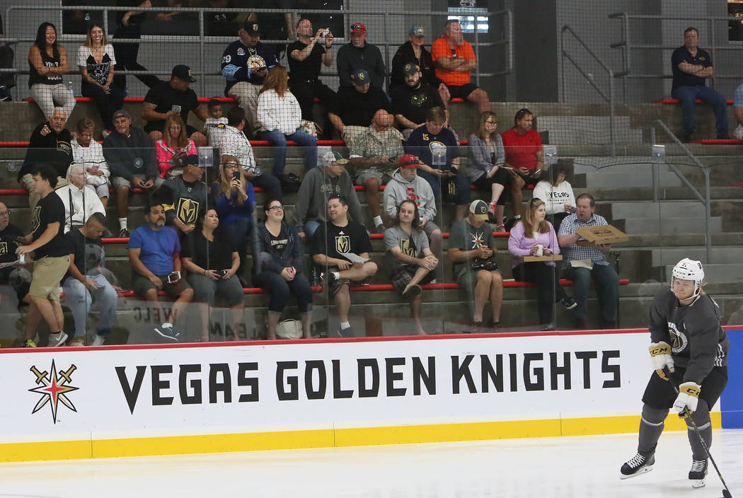 Vegas Golden Knights fans watch team's practice after the grand opening ceremony of City National Arena on Monday, Sept. 18, 2017, in Las Vegas. Bizuayehu Tesfaye Las Vegas Review-Journal @bizutesfaye