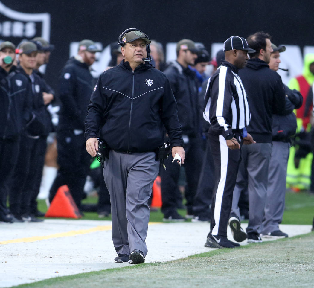 Oakland Raiders defensive coordinator John Pagano coaches from the sideline during the first half of a NFL game against the Denver Broncos in Oakland, Calif., Sunday, Nov. 26, 2017. Heidi Fang Las ...