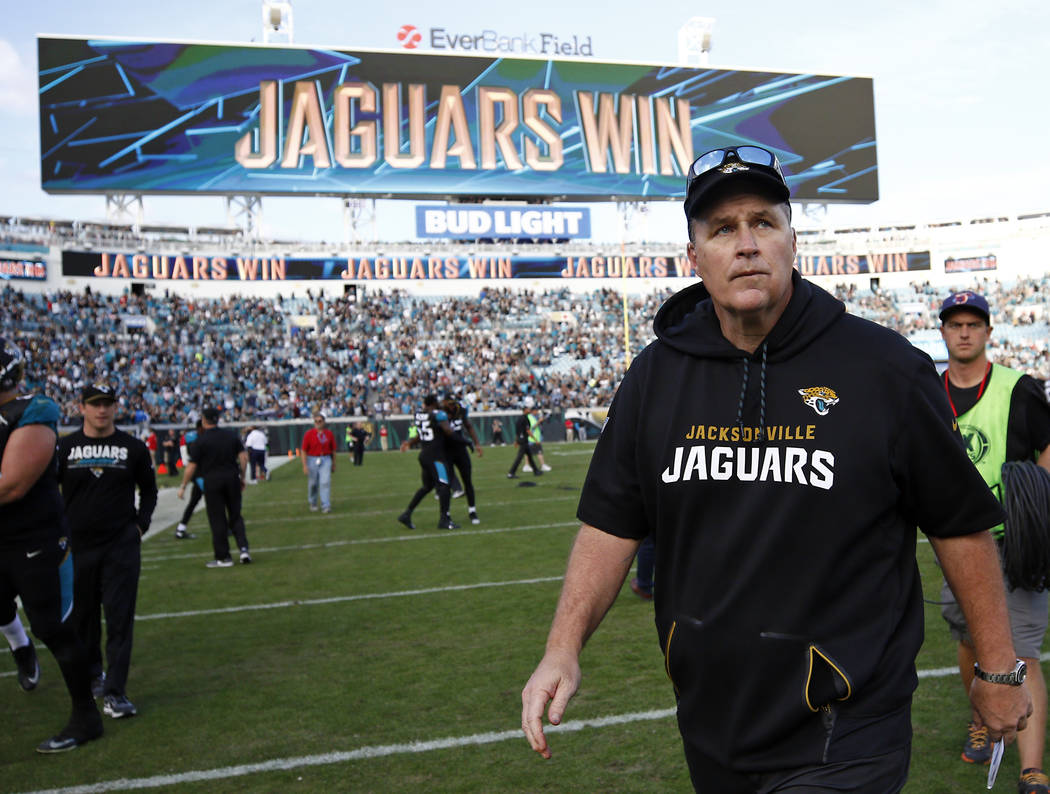Jacksonville Jaguars head coach Doug Marrone walks off the field after defeating the Houston Texans in an NFL football game, Sunday, Dec. 17, 2017, in Jacksonville, Fla. (AP Photo/Stephen B. Morton)