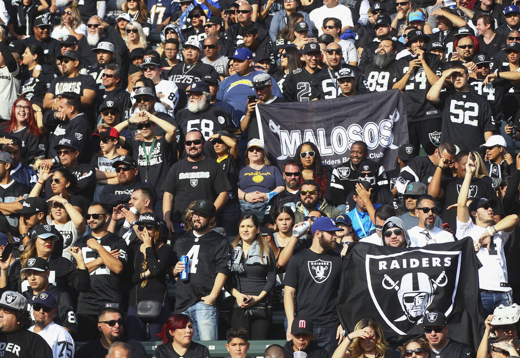 Oakland Raiders fans cheer during an NFL game against the Los Angeles Chargers at StubHub Center in Carson, Calif. on Sunday, Dec. 31, 2017. Chase Stevens Las Vegas Review-Journal @csstevensphoto