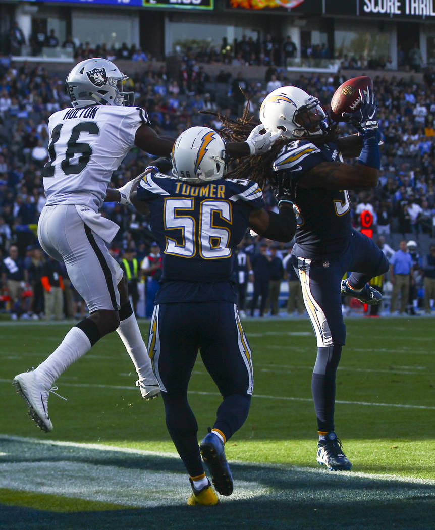 Los Angeles Chargers safety Tre Boston (33) intercepts a pass intended for Oakland Raiders wide receiver Johnny Holton (16) during an NFL game at StubHub Center in Carson, Calif. on Sunday, Dec. 3 ...