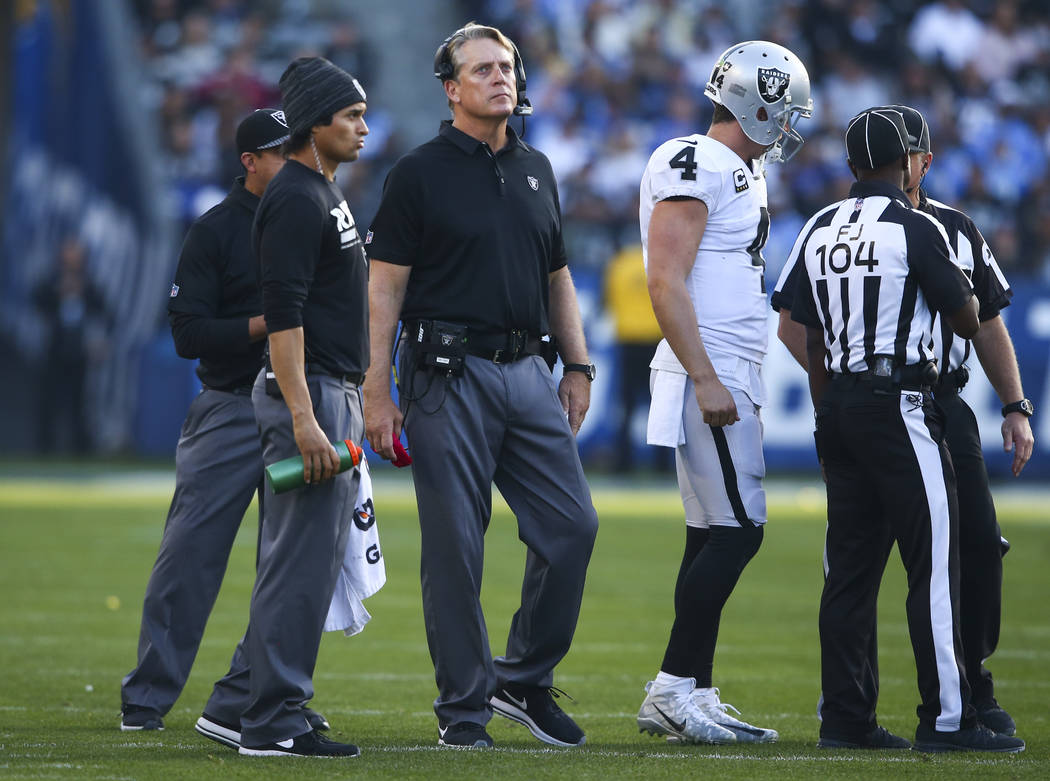 Oakland Raiders head coach Jack Del Rio, third from left, with quarterback Derek Carr (4) during an NFL game against the Los Angeles Chargers at StubHub Center in Carson, Calif. on Sunday, Dec. 31 ...