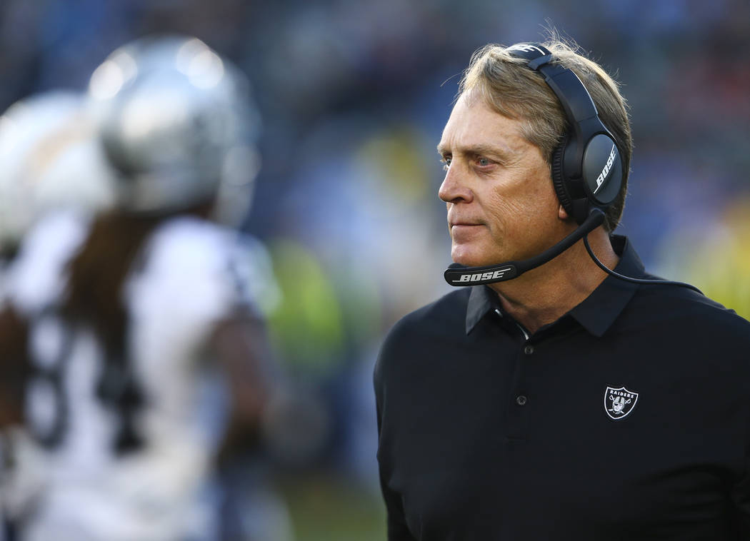 Oakland Raiders head coach Jack Del Rio during an NFL game against the Los Angeles Chargers at StubHub Center in Carson, Calif. on Sunday, Dec. 31, 2017. Chase Stevens Las Vegas Review-Journal @cs ...