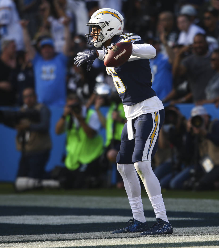 Los Angeles Chargers wide receiver Tyrell Williams (16) celebrates his touchdown against the Oakland Raiders during an NFL game at StubHub Center in Carson, Calif. on Sunday, Dec. 31, 2017. Chase  ...