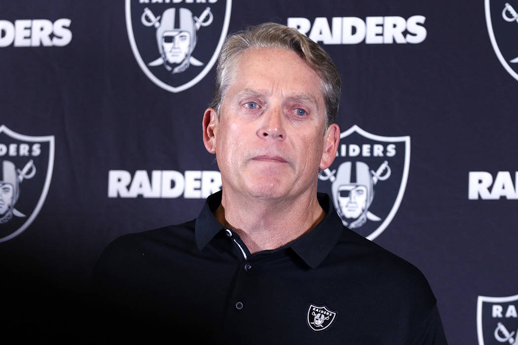 Jack Del Rio announces during a postgame news conference that he was fired and will no longer be the Oakland Raiders head coach following their 30-10 loss to the Los Angeles Chargers in Carson, Ca ...