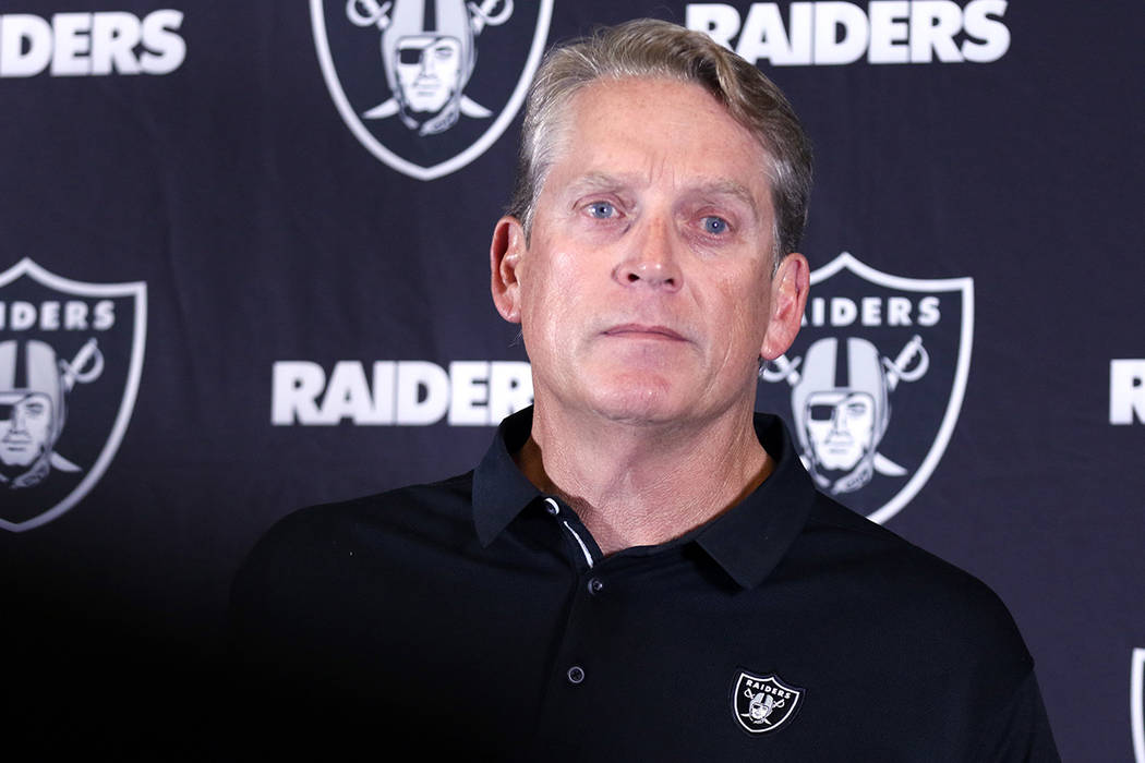 Jack Del Rio takes questions from media after announcing he was fired as the Oakland Raiders head coach during a postgame news conference released following their 30-10 loss to the Los Angeles Cha ...