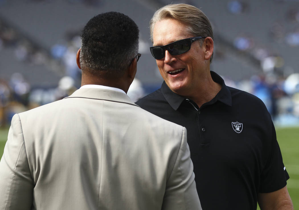 Oakland Raiders head coach Jack Del Rio before his team plays the Los Angeles Chargers during an NFL game at StubHub Center in Carson, Calif. on Sunday, Dec. 31, 2017. (Chase Stevens/Las Vegas Rev ...
