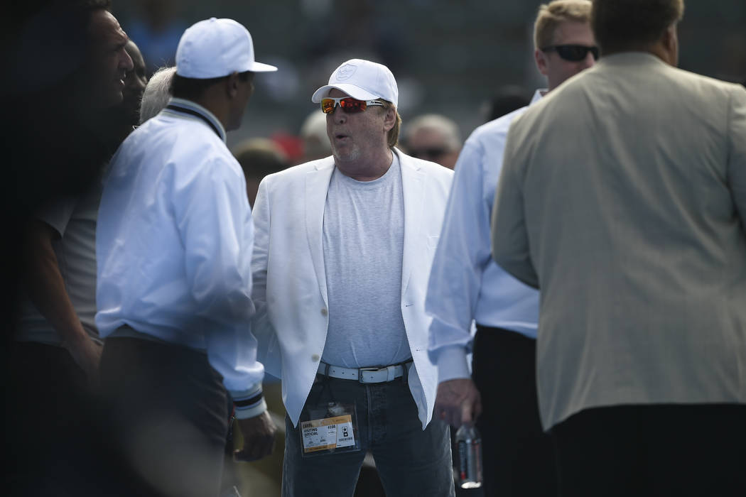 Oakland Raiders owner Mark Davis looks on before an NFL football game against the Los Angeles Chargers, Sunday, Dec. 31, 2017, in Carson, Calif. (AP Photo/Kelvin Kuo)
