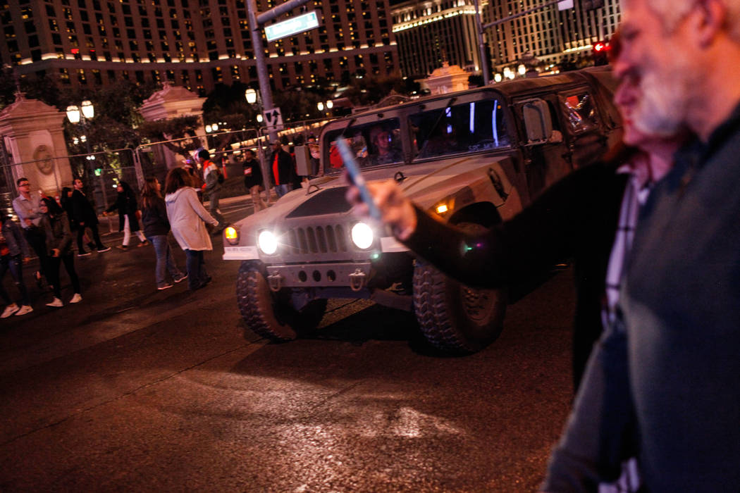 A National Guard Humvee drives along the Strip on New Year's Eve in Las Vegas, Sunday, Dec. 31, 2017. Joel Angel Juarez Las Vegas Review-Journal @jajuarezphoto