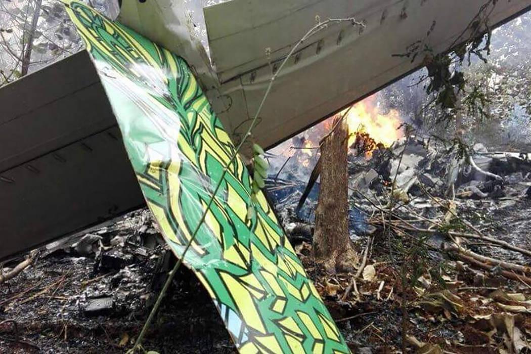 The site of a plane crash in Punta Islita, Guanacaste, Costa Rica, Sunday, Dec. 31, 2017. (Costa Rica's Civil Aviation press office via AP)