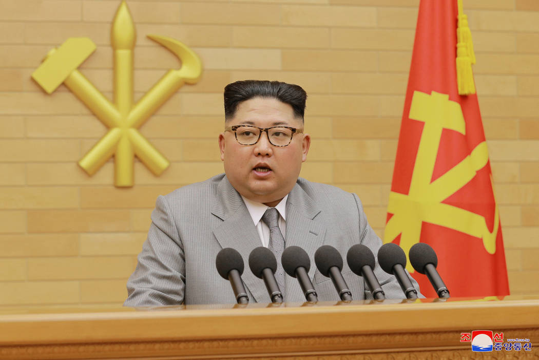 North Korea's leader Kim Jong Un speaks during a New Year's Day speech (KCNA/via REUTERS)