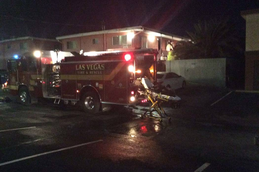 Las Vegas firefighters arrived 11:50 p.m. Friday, Dec. 29 at the Tara Vista Apartments and found an unresponsive man on the kitchen floor of a first-floor apartment unit. (Las Vegas Fire and Rescue)