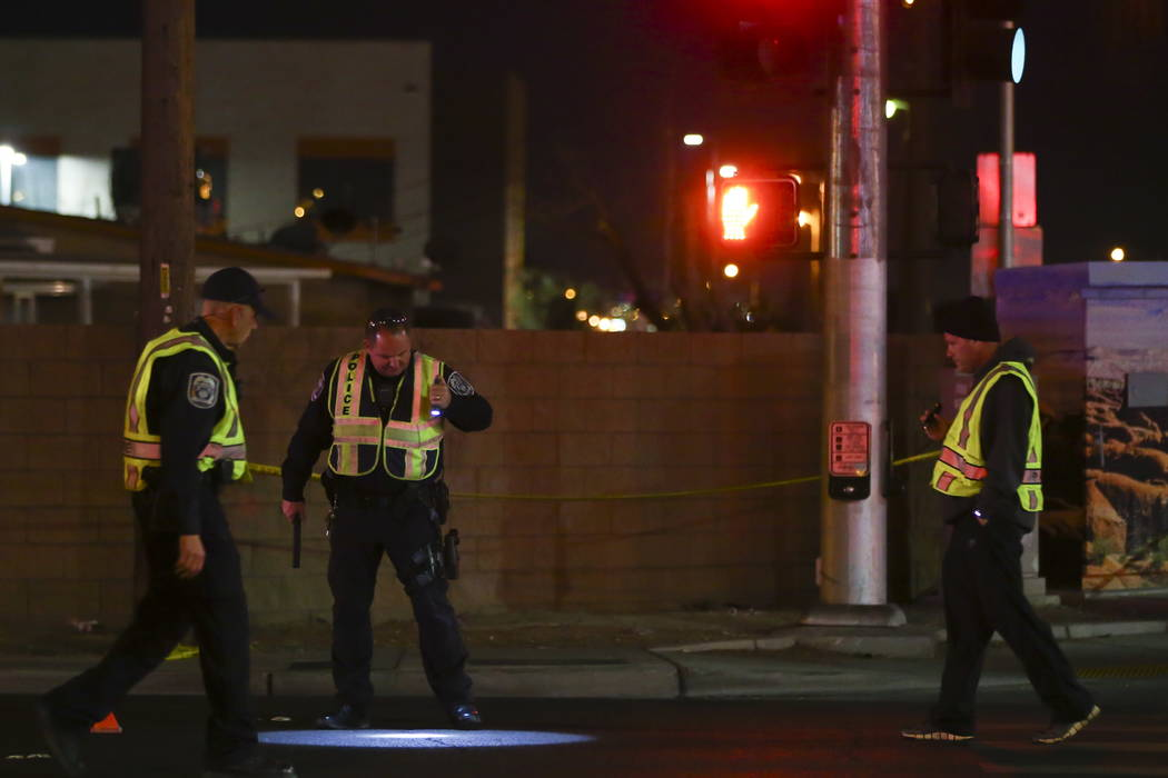 North Las Vegas police investigate a fatal accident on Cheyenne Avenue at Berg Street in North Las Vegas on Thursday, Jan. 18, 2018. Chase Stevens Las Vegas Review-Journal @csstevensphoto